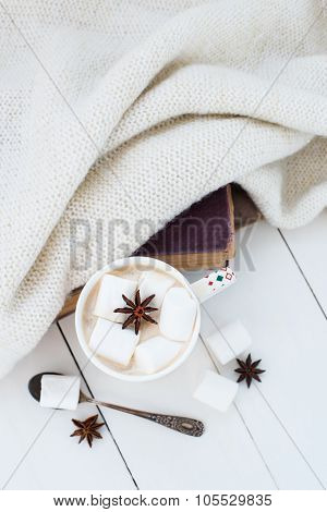 cocoa with marshmallow and star anise