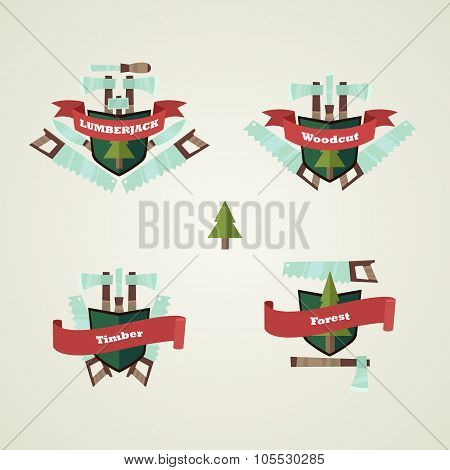 Vector Set Of Logging Crest Emblems In Flat Cartoon Infographic Style