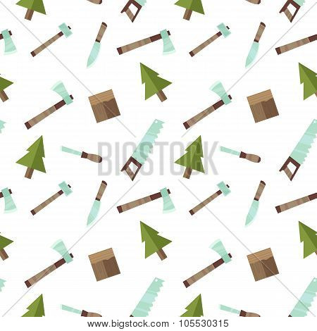 Seamless Vector Pattern Lumberjack Logging With Tools In Flat Cartoon Style Isolated On White Backgr