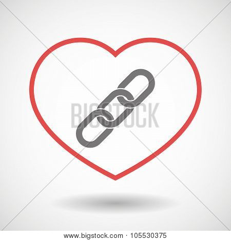 Line Heart Icon With A Chain