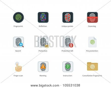 Fingerprint color icons on white background