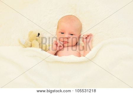 Cute Baby Sleeping Together With Teddy Bear Toy On The Bed At Home