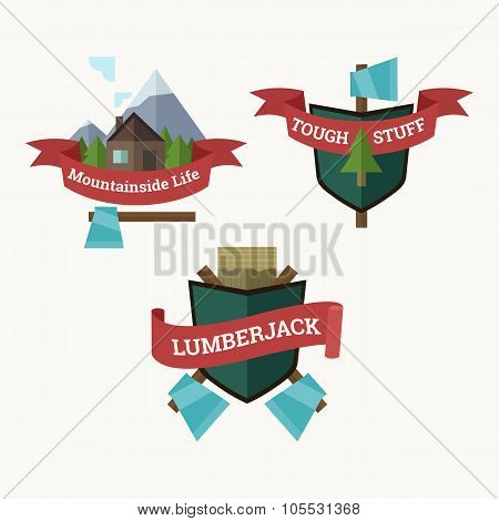 Set Of Vector Mountainside Labels, Lumberjack Coat Of Arms Design Elements.