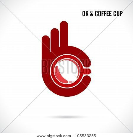 Creative Hand And Coffee Cup Abstract Logo Design.hand Ok Symbol Icon.coffee Shop,corporate Business