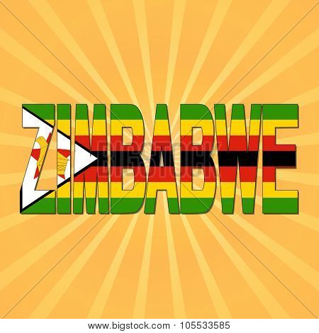 Zimbabwe flag text with sunburst illustration