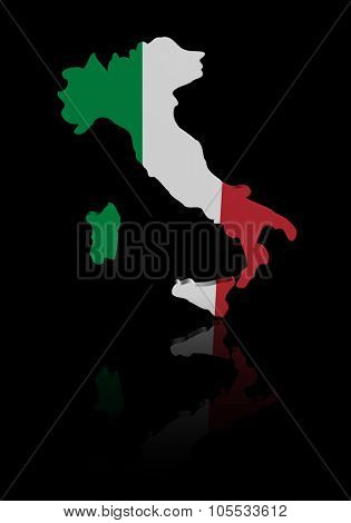Italy map flag with reflection illustration
