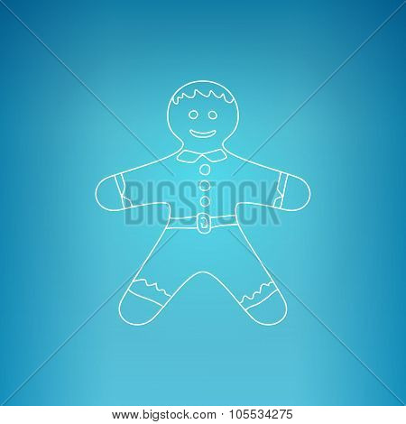 Gingerbread Man On A Blue Background