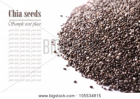 Carefully Selected Chia Seeds Macro Isolated On White. Horizontal For The Inscription