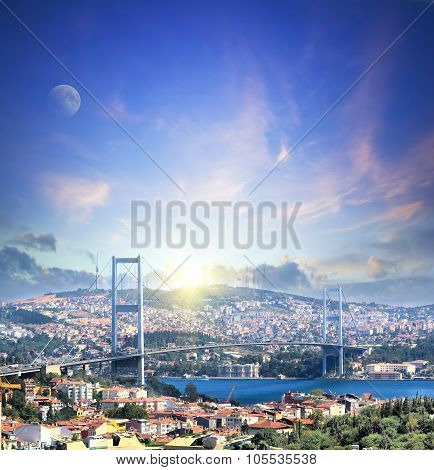 Bridge Over Bosphorus At Sunset. Travel And Business Concept