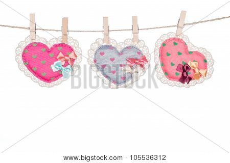Clip On A  Twine , Hanging  Heart Valentine's Day