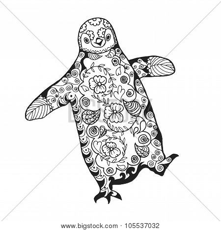 Cute penguin. Adult antistress coloring page