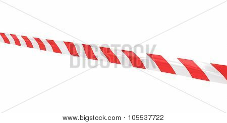 Red And White Striped Hazard Tape Line At Angle