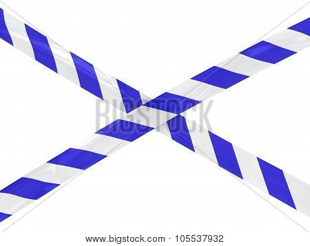 Blue And White Striped Barrier Tape Cross