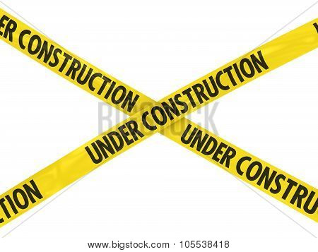 Yellow Under Construction Barrier Tape Cross