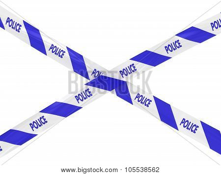 Blue And White Striped Police Barrier Tape Cross