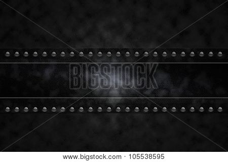 Rivets in black leatherette background
