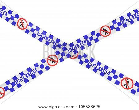 Blue And White Checkered Police No Entry Symbol Tape Cross