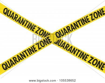 Yellow Quarantine Zone Barrier Tape Cross