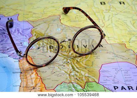 Glasses on a map - La Paz