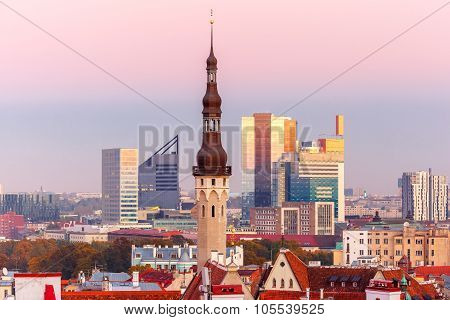 Aerial cityscape of Tallinn at sunset, Estonia