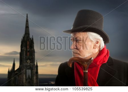 Victorian portrait of a senior man thinking about something