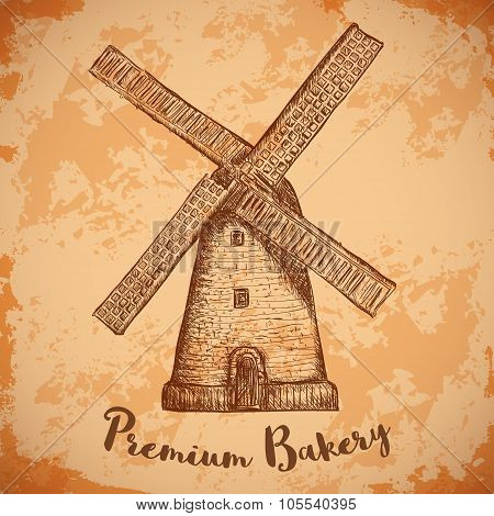 Windmill . Premium bakery. Vintage poster, labels, pack for bread. Retro hand drawn vector illustrat