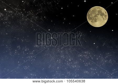Night sky. Full moon on the starry sky with clouds
