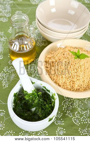 Couscous and herbs