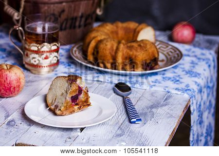 Sponge Cake With Apple, Raspberry