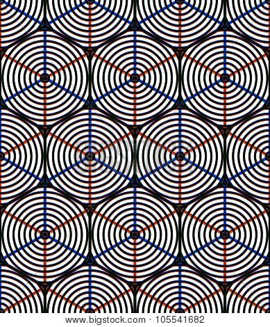 Seamless Optical Ornamental Pattern With Three-dimensional Geometric Figures. Intertwine