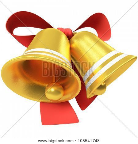 Two Christmas bells with red bow isolated on white background.