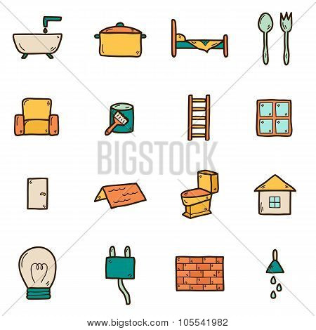 Home remodeling icons