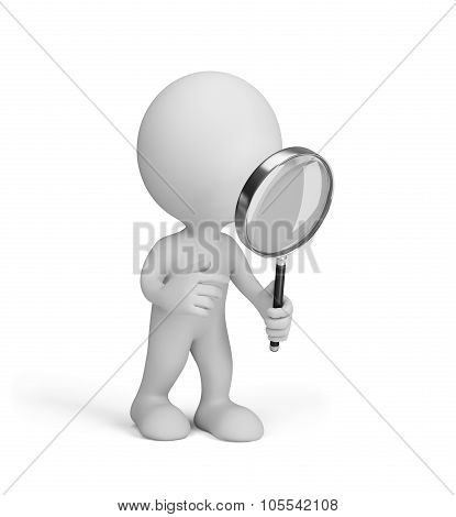3D Man With Magnifying Glass
