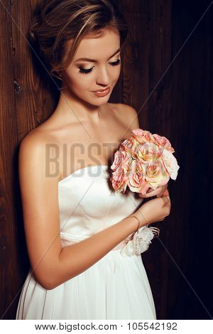 Beautiful Tender Bride In Elegant Lace Wedding Dress