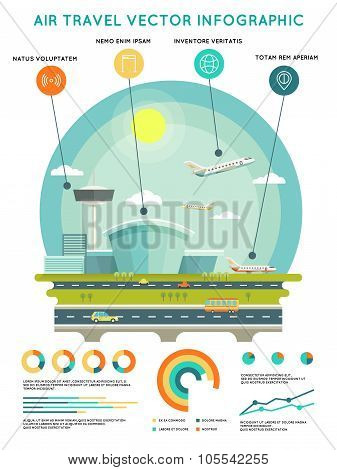 Air travel vector infographic template with airport and aircrafts