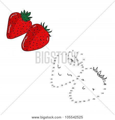 Educational game connect dots draw strawberry