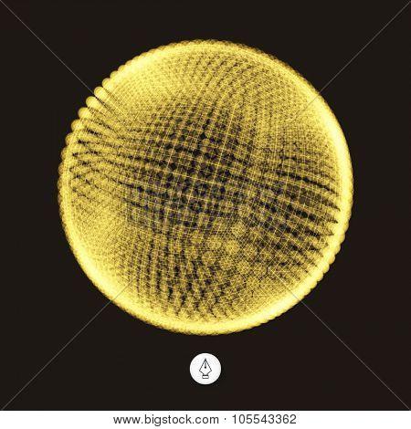 3d sphere. Global digital connections. Technology concept. Vector illustration.