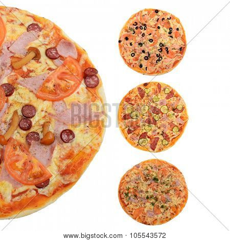 Collage of mixed pizza from top on white