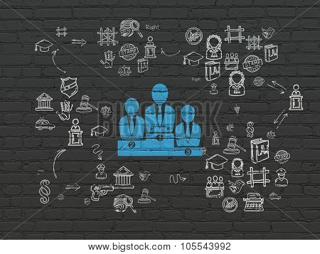 Law concept: Business Team on wall background