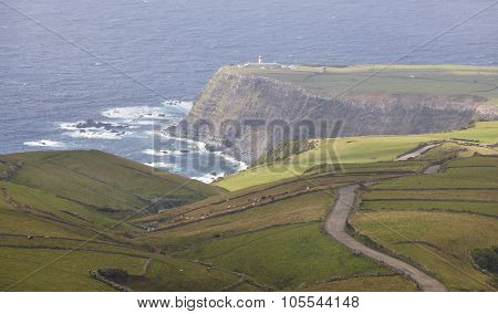 Azores Coastline Landscape With Lighthouse In Flores Island. Portugal