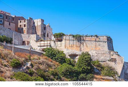 Skyline Of Bonifacio, Stone Houses And Fortress