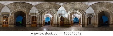 Part of the spherical panorama taken at sunrise inside of the ancient building in the city of Bukhara, Uzbekistan