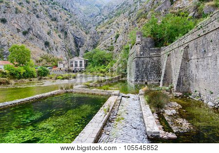 Fortress Wall Of Bastion Riva Near River Shkurda, Old Town Of Kotor, Montenegro