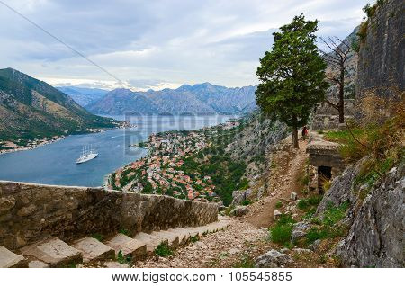 The Ancient Fortress Walls Above The Town Of Kotor And The Bay Of Kotor, Montenegro