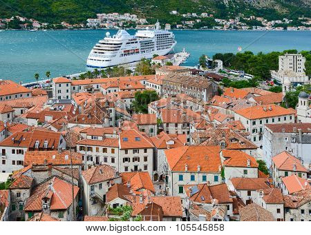Top View Of Old Town Kotor And Cruise Ship In Bay Of Kotor, Montenegro