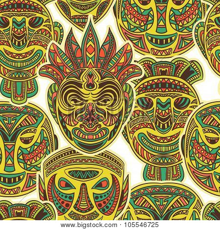 Tribal mask collection. Colorful seamless pattern with ethnic ornament. Retro hand drawn vector illu