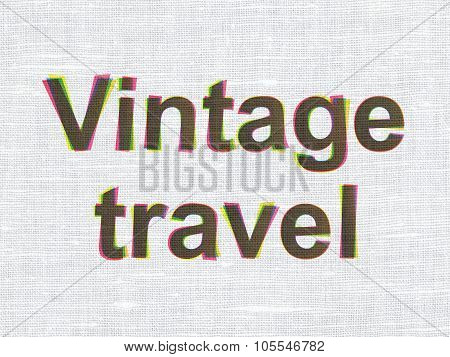 Tourism concept: Vintage Travel on fabric texture background