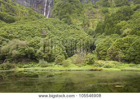 Azores Landscape In Flores Island. Waterfalls In Pozo Da Alagoinha