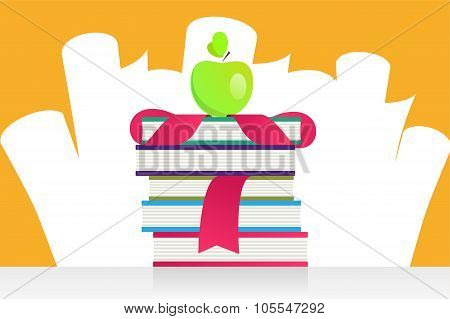 Graduation apple and books vector illustration