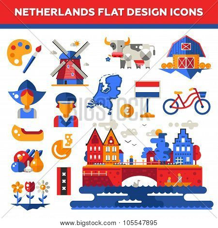 Set of flat design Holland travel icons, infographics elements with landmarks and famous Dutch symbo